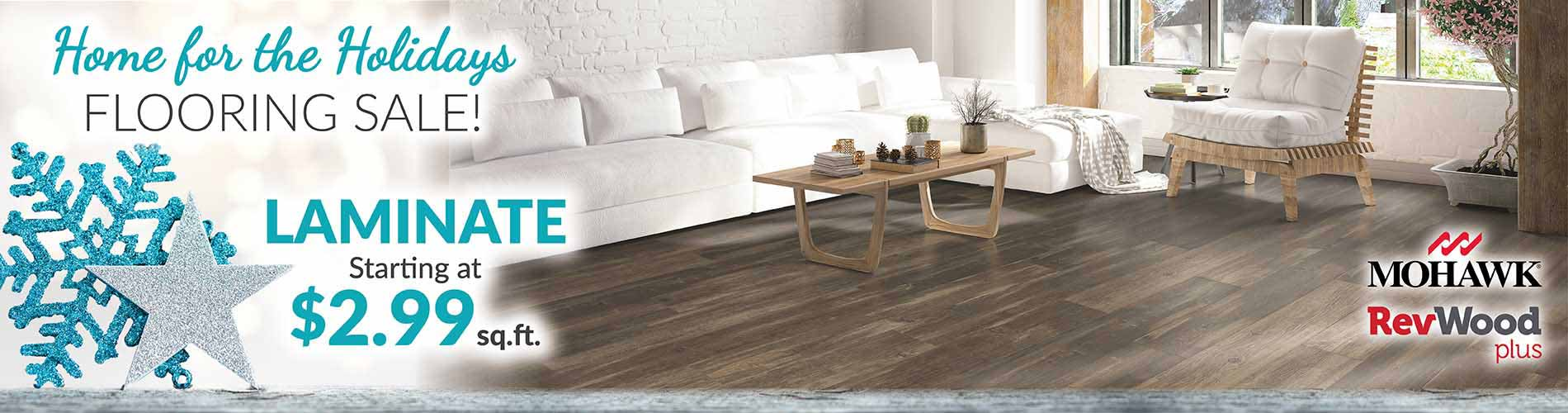 Mohawk Revwood Plus Hickory Laminate Flooring starting at $2.99 sq.ft. during our Home for the Holidays Sale at Bell Carpet & Floors in Wichita, KS