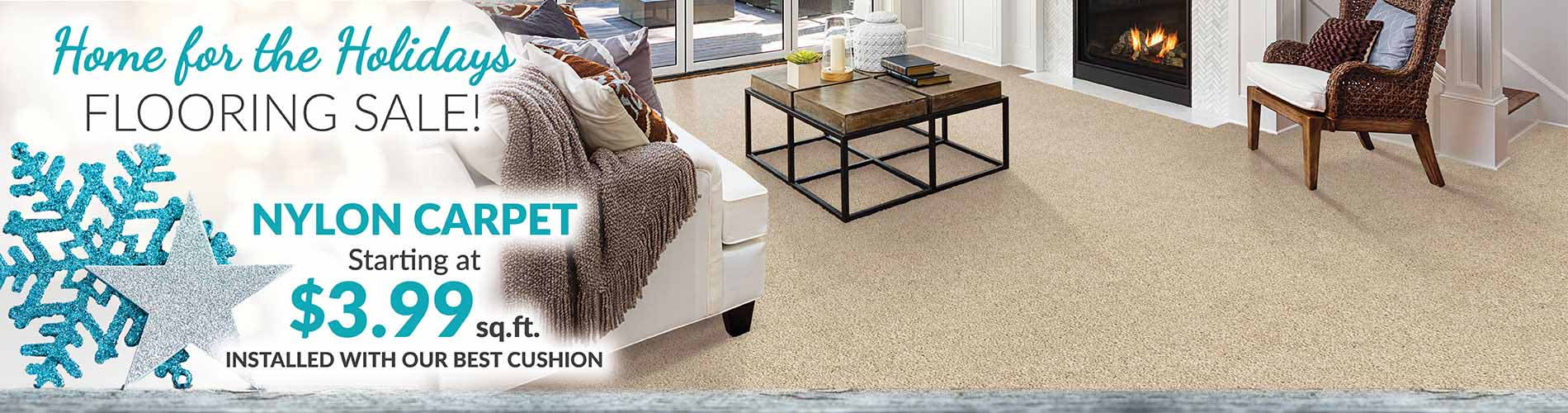 Nylon Carpet starting at $3.99 sq.ft. during our Home for the Holidays Flooring Sale at Bell Carpet & Floors in Wichita, KS