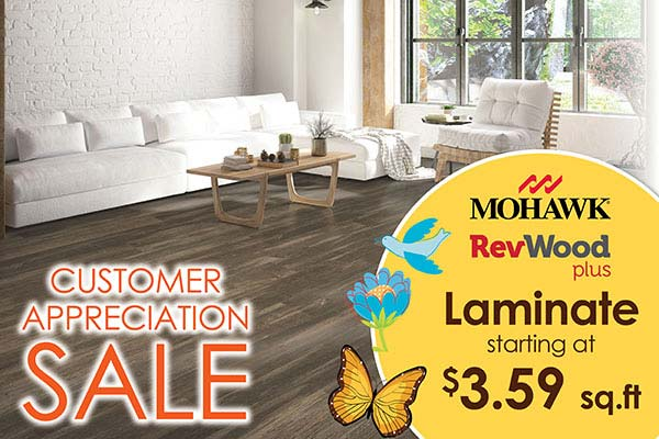 Mohawk RevWood laminate starting at $3.59 sq.ft. at Bell Carpet & Floors in Wichita