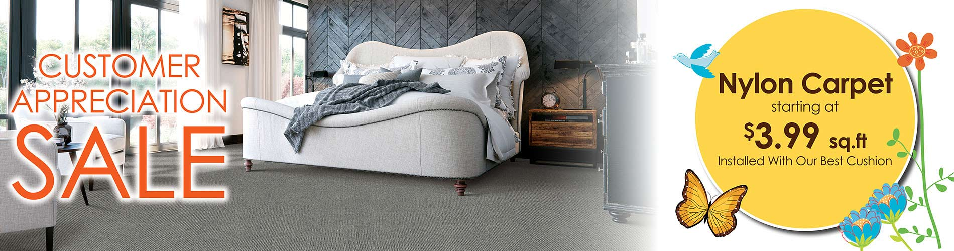 Nylon Carpet starting at $3.99 sq.ft. INSTALLED with best cushion at Bell Carpet & Floors in Wichita