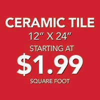 12 by 24 Ceramic tile flooring starting at $1.99 sq.ft. during our home makeover sale at bell Carpet & Floors in wichita