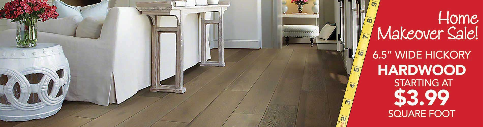 """6.5"""" wide hickory Hardwood flooring starting at $3.99 sq.ft. during our home makeover sale at bell Carpet & Floors in wichita"""