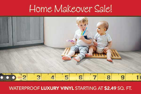 Waterproof Luxury Vinyl flooring starting at $2.49 sq.ft. during our home makeover sale at bell Carpet & Floors in wichita