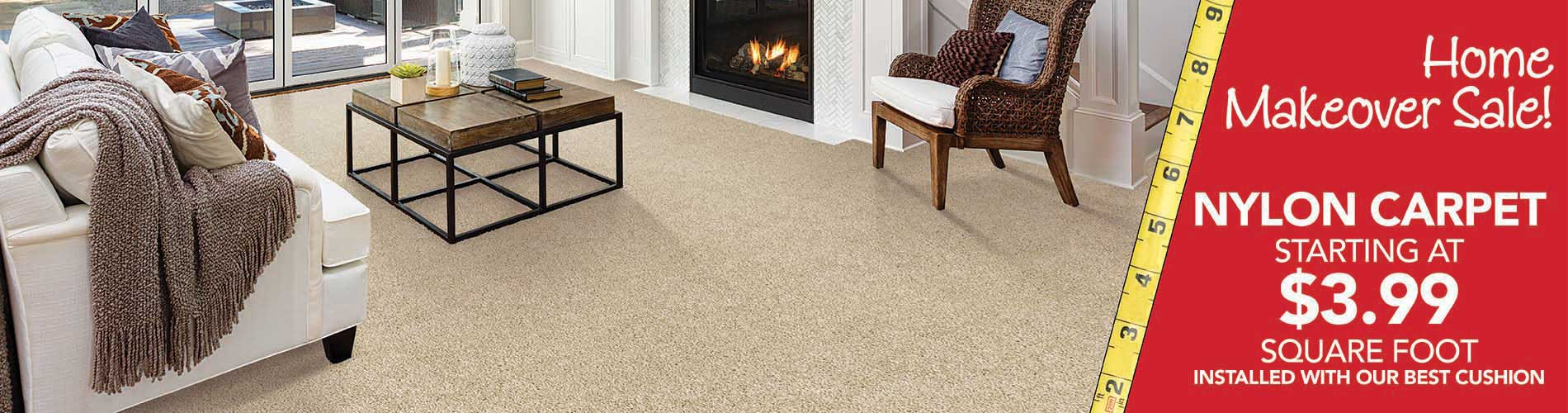 Nylon Carpet starting at $3.99 sq.ft. during our home makeover sale at bell Carpet & Floors in wichita